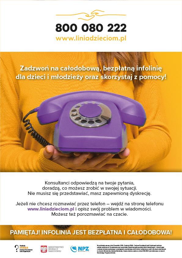 Telefon zaufania dla dzieci - linia dzieciom: 800 080 222