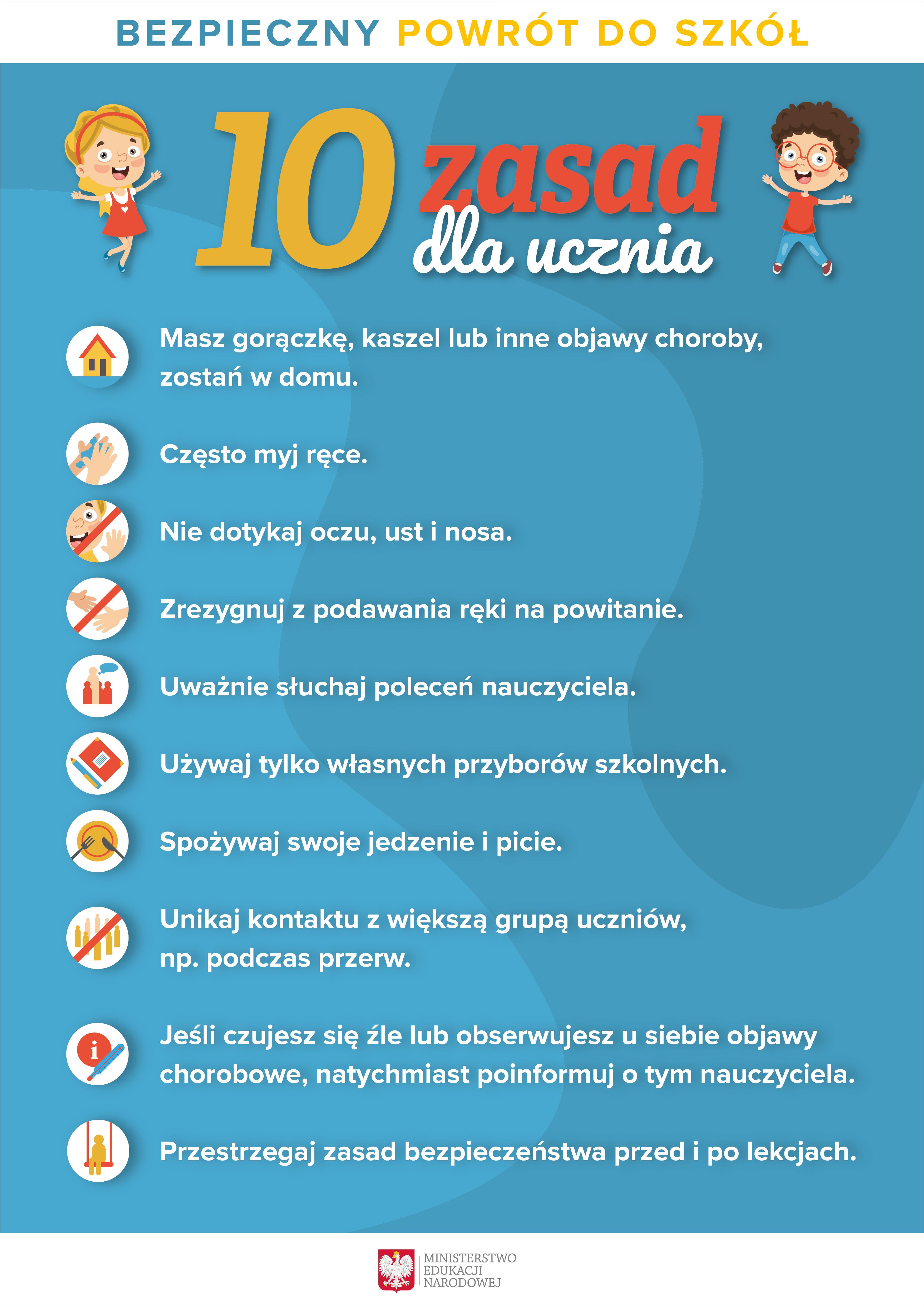 COVID-19 10 zasad dla ucznia